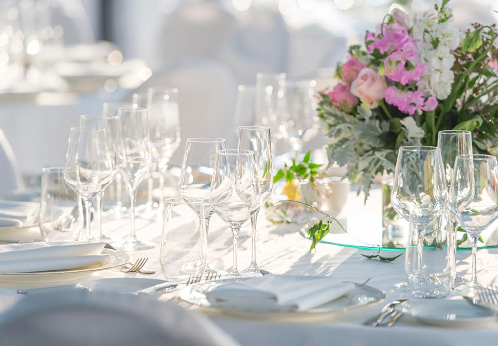 Glassware set on table at The Great Lawn Event Space - Crown Perth