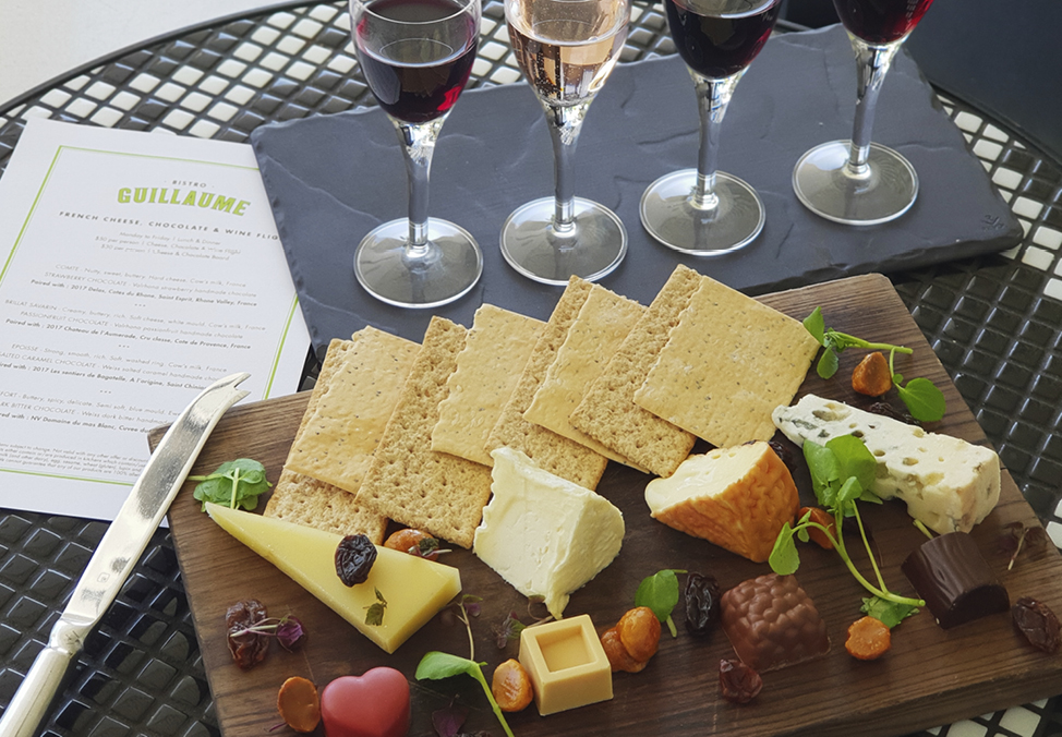 French Cheese, Chocolate & Wine Flight at Bistro Guillaume