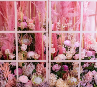Pink floral installation at crown perth