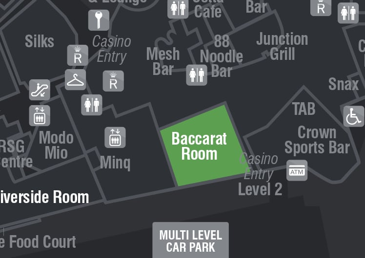 maps location for baccarat room crown perth