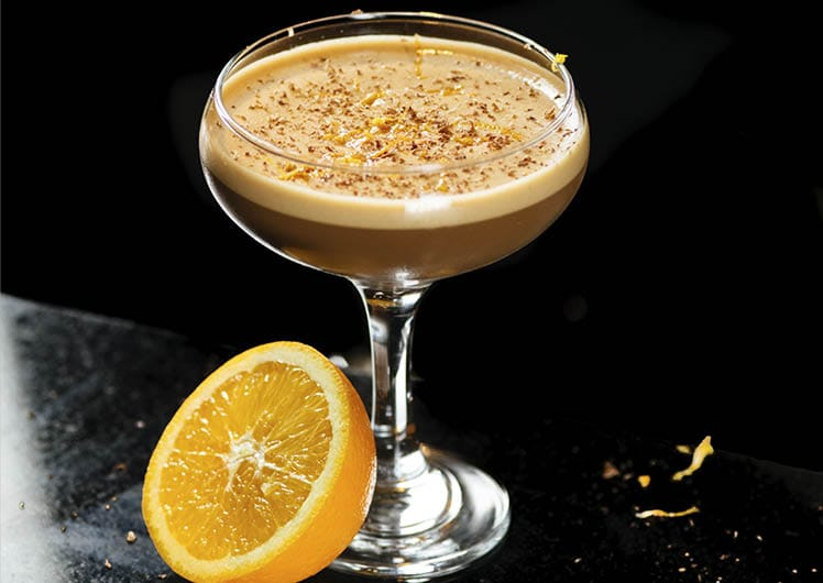 espresso martini cocktail with orange