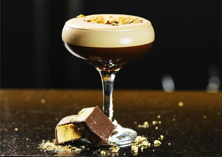 espresso martini cocktail with chocolate