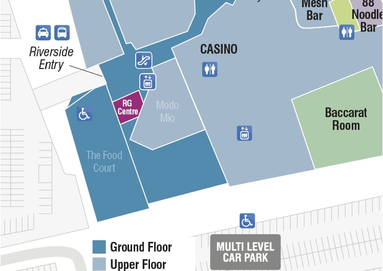 map of crown perth responsible gaming centre