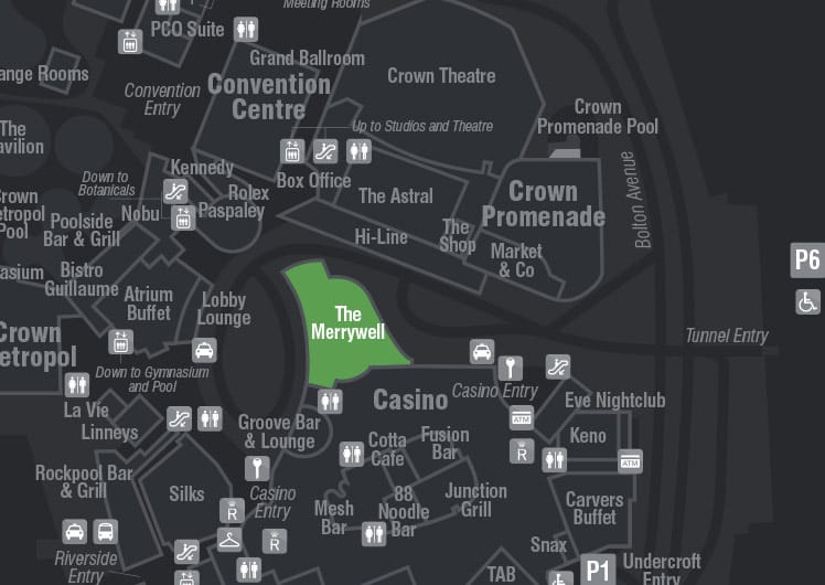 Opening Hours & Map - The Merrywell | Crown Perth