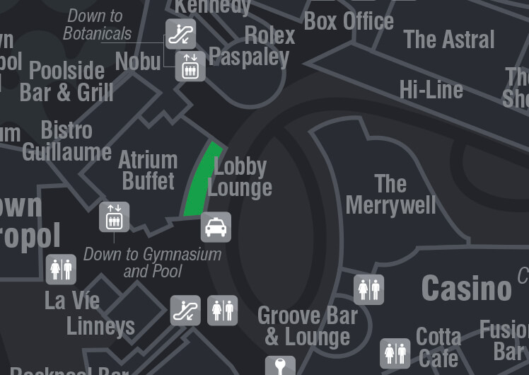 Map of Lobby Lounge location Crown Perth