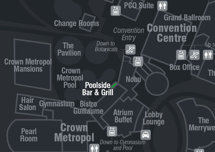 Opening Hours & Maps - Poolside Bar & Grill | Crown Perth