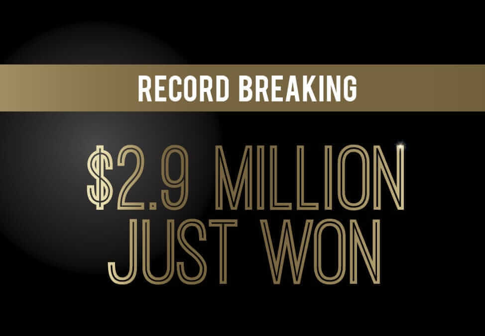 Record breaking $2.9 Million Won at Crown Perth