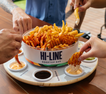 chips and dips at hi-line rooftop bar
